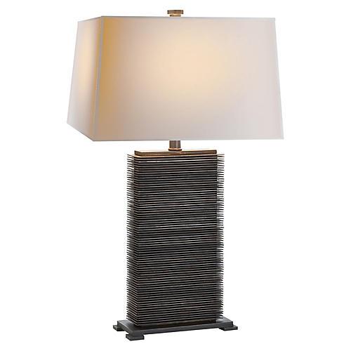 Convector Table Lamp, Antiqued Zinc