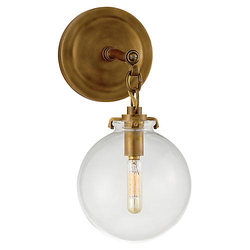 Katie Globe Sconce, Brass/Clear