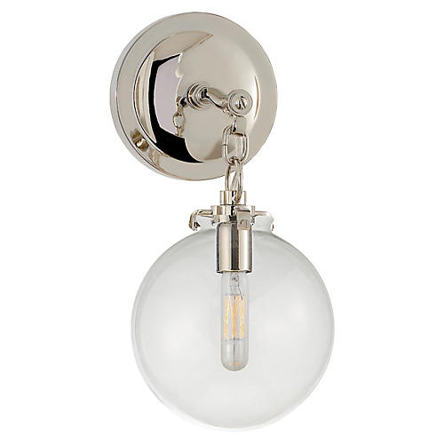 Katie Globe Sconce, Nickel/Clear