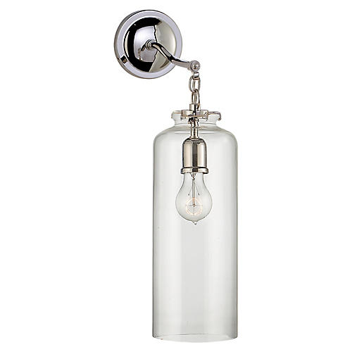 Katie Cylindrical Sconce, Nickel/Clear