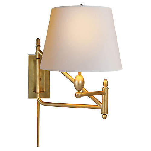 Paulo Swing-Arm Sconce, Brass