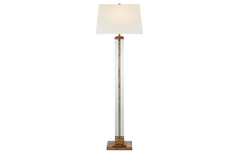Wright Large Floor Lamp, Gilded Iron