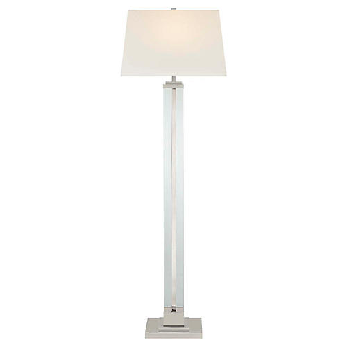 Wright Large Floor Lamp, Polished Nickel