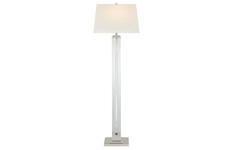 Wright Large Floor Lamp, Polished Nickel
