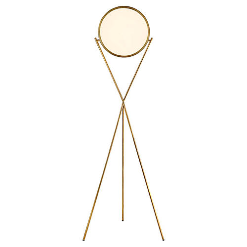 Dot Stance Rotating Floor Lamp, Natural Brass