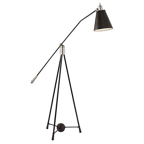 Magneto Floor Lamp, Polished Nickel/Bronze