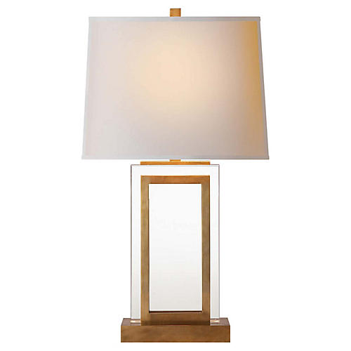 Crystal Panel Table Lamp, Antiqued/Burnished Brass