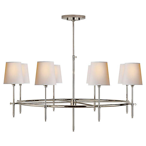 Bryant Large Ring Chandelier, Polished Nickel