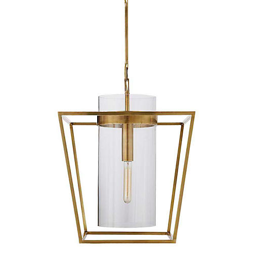 Presidio Small Lantern Pendant, Antiqued Brass