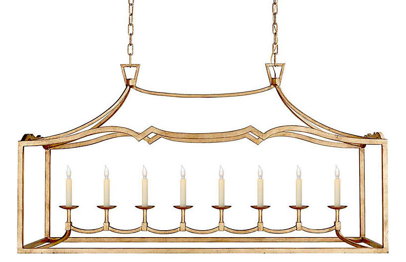 Darlana Large Linear Light, Gilded Iron