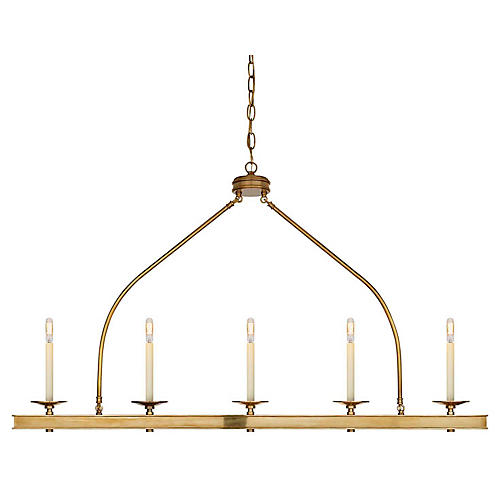 Launceton Large Linear Light, Antiqued Brass