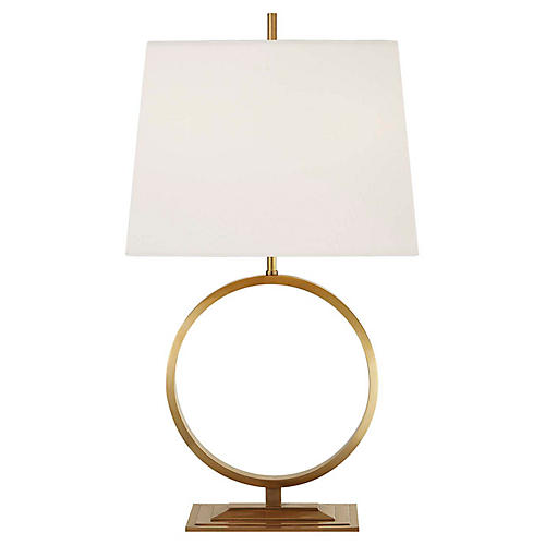 Simone Medium Table Lamp, Antiqued Brass