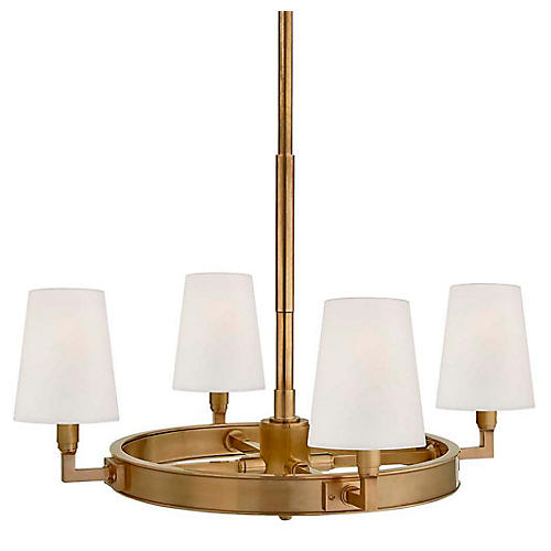Watson Small Ring Chandelier, Antiqued Brass