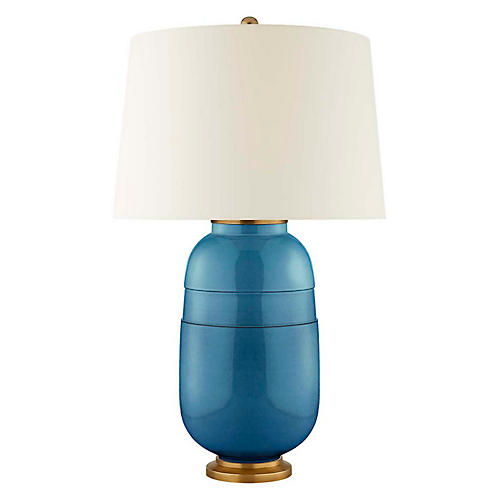 Newcomb Table Lamp, Aqua Crackle