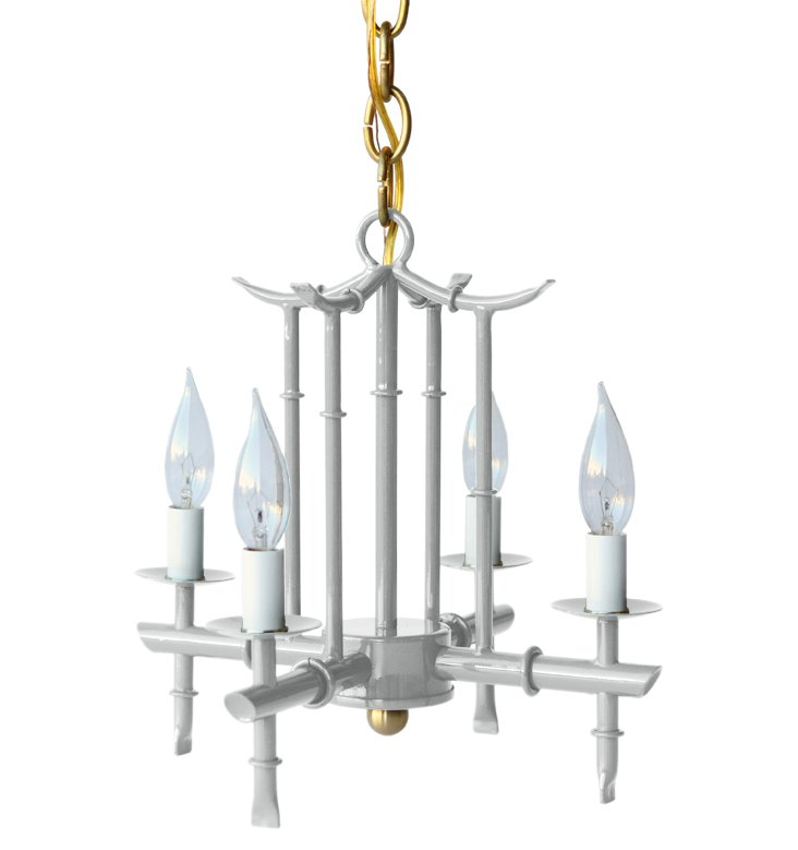 Petite 4-Arm Chandelier, Gray