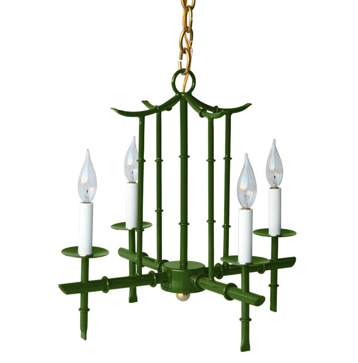 Small 4-Arm Chandelier, Green