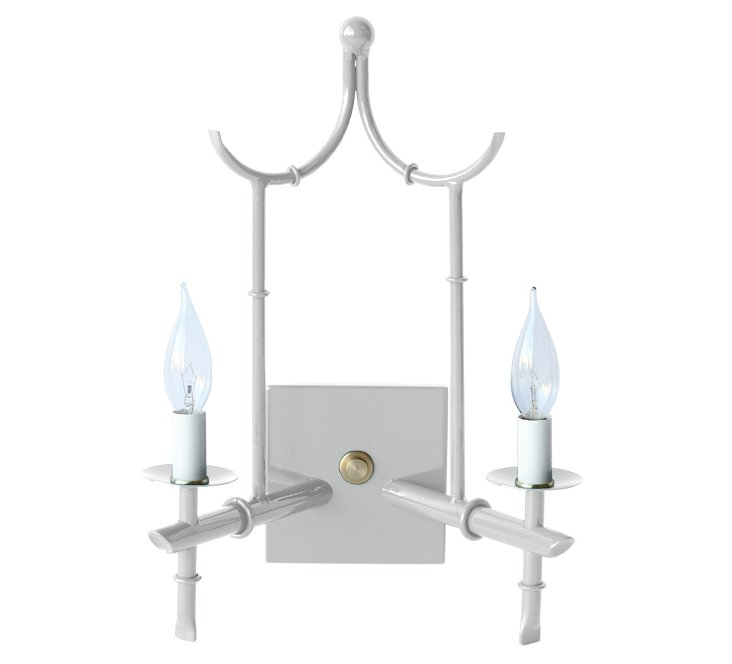 2-Arm Wall Sconce, Gray