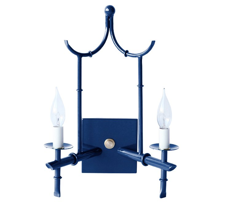 2-Arm Wall Sconce, Navy