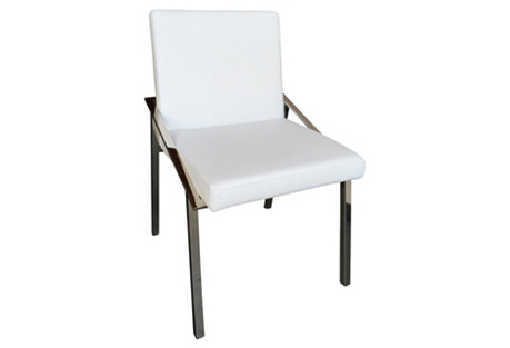 Kate Side Chair, Silver/White