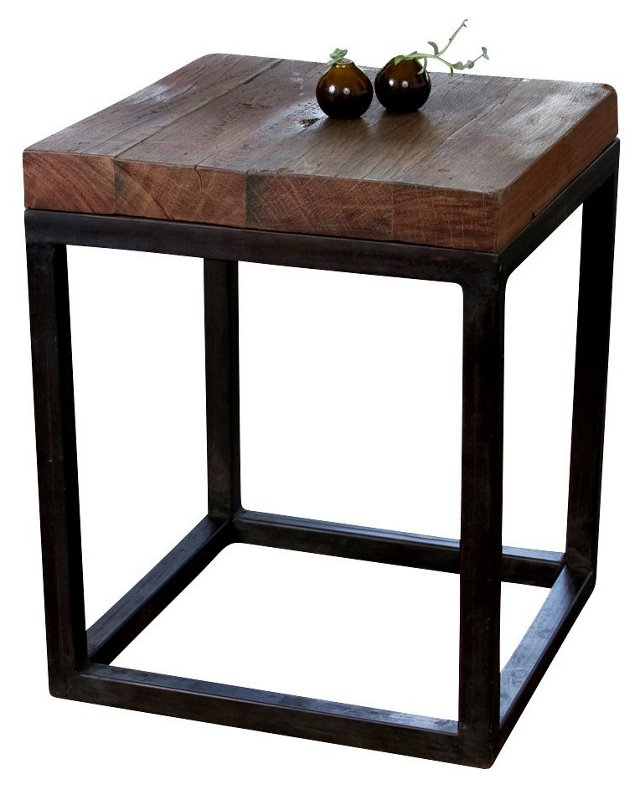 Willis Side Table, Natural/Dark Brown