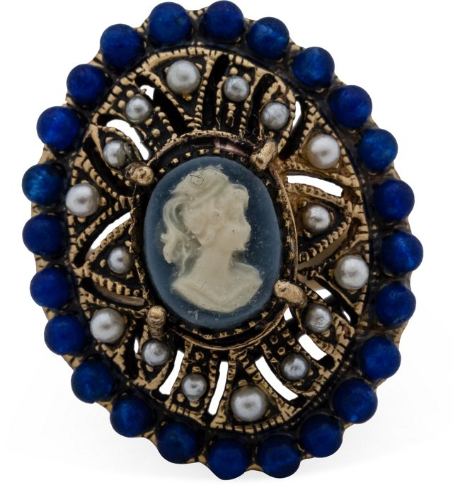 Blue Cameo Cocktail Ring