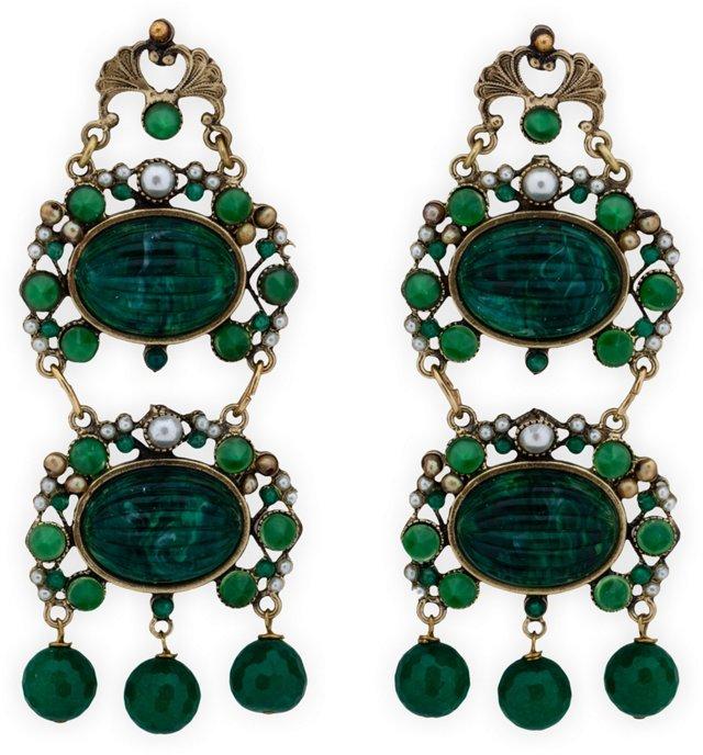 Faux-Jade Kiele Chandelier Earrings