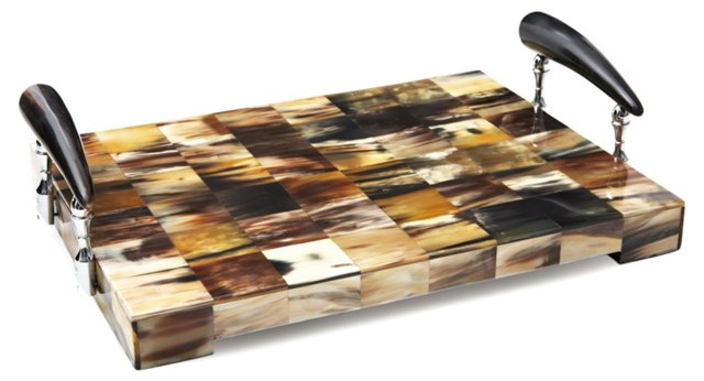 """16"""" Patchwork Tray w/ Horn Handles"""