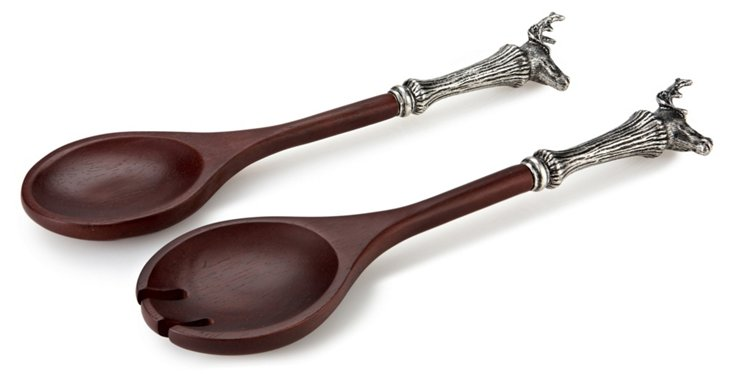 Stag-Head Wooden & Pewter Salad Servers