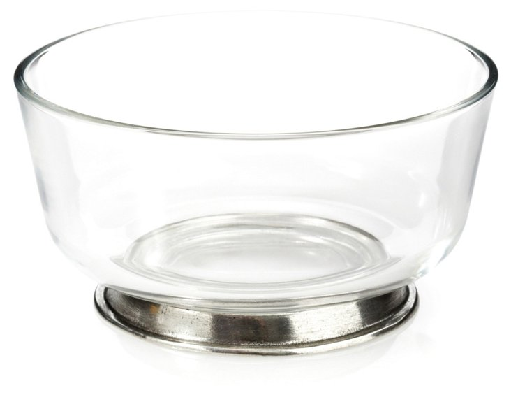 Glass Bowl w/ Pewter Base, Medium