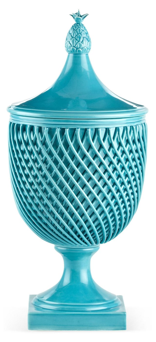 "17"" Astor Lattice Vase, Turquoise"