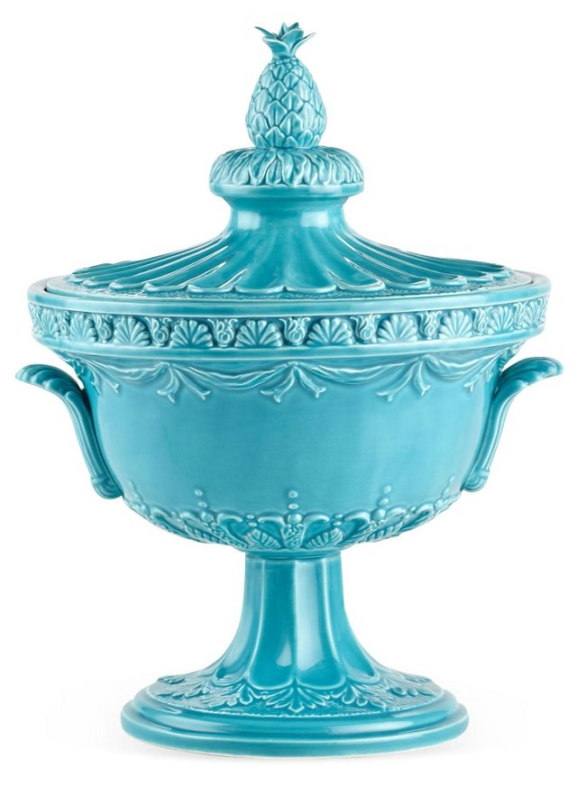 """15"""" Astor Pineapple Canister, Turquoise"""