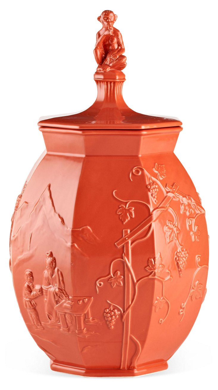 Chinoiserie Ginger Jar w/ Finial, Coral