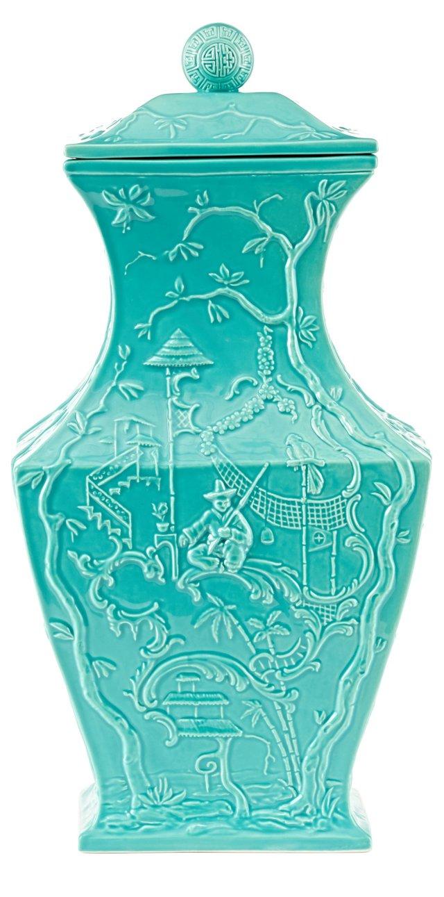 "18"" Etoile Jar, Turquoise"