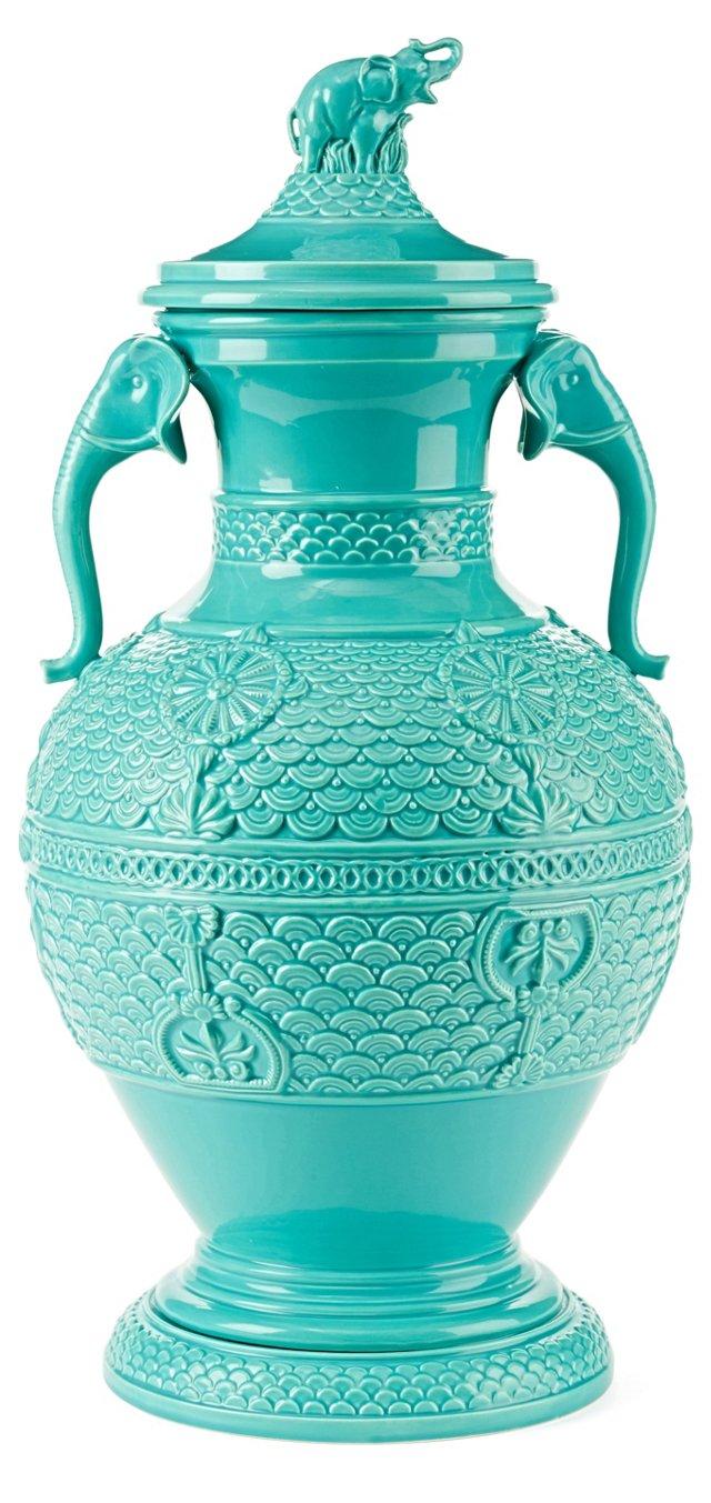 "22"" Elephant Lidded Jar, Turquoise"