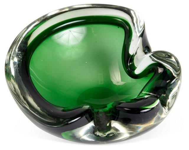 Green Murano Art Glass Bowl
