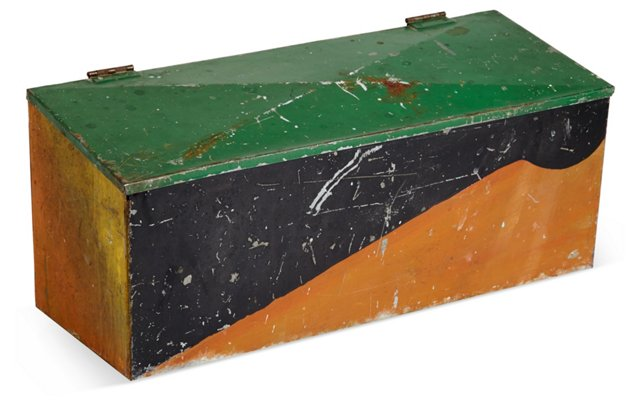 Graphic Painted Large Tin Box