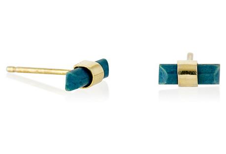 Mini Stick Stud Earrings, Gold/Lapis