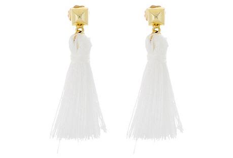 Bullet Tassel Earrings, Gold/White