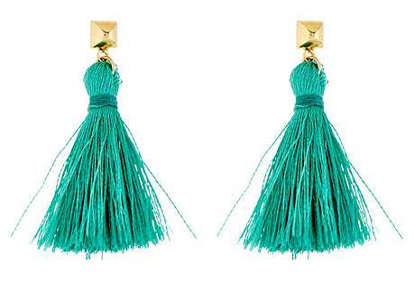 Bullet Tassel Earrings, Gold/Mint