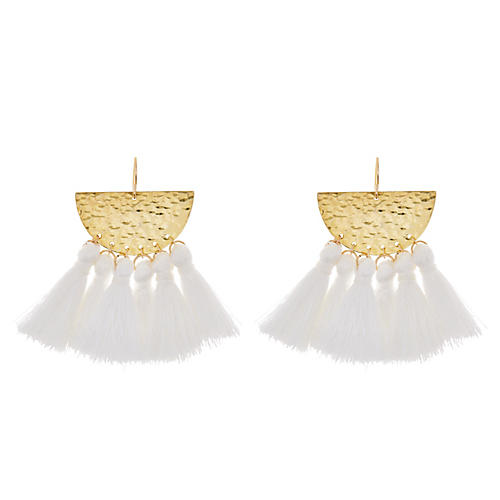 Sunrise Drop Earrings, White/Gold