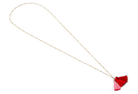 Long Tassel Necklace, Gold/Red