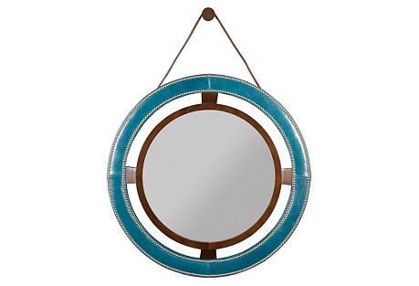 Auburn Round Mirror, Blue Leather