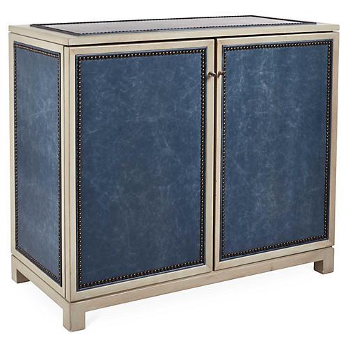 Madison Cabinet, Blue Leather