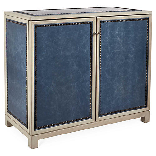 Madison Cabinet, Blue Leather