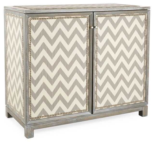 Carlyle Chevron Upholstered Cabinet