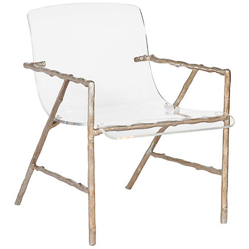 Sullivan Acrylic Chair, Gold