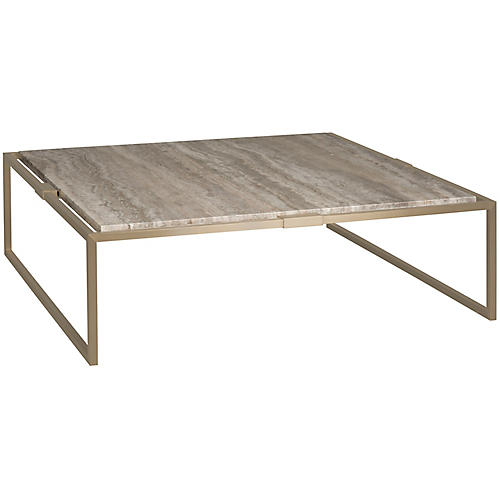 Square Coffee Table, Gold/Gray