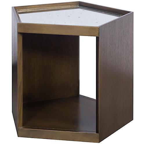 Lawford Side Table, Walnut/Mirror