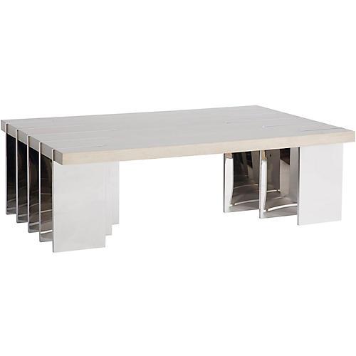 Ben Coffee Table, Cream/Silver