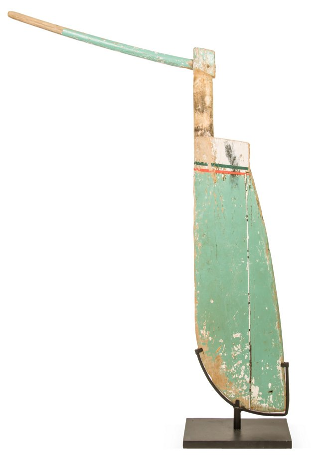 Vintage Painted Rudder on Stand